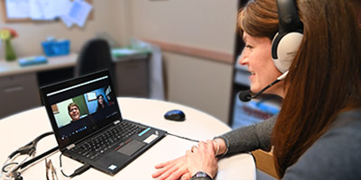 Provider on telehealth call with patient