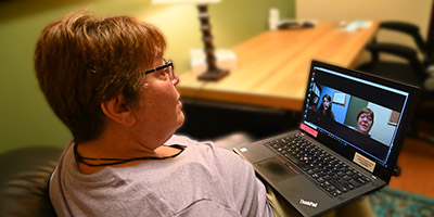 patient receiving telehealth services
